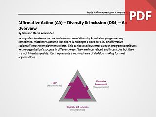 Affirmative Action (AA) – Diversity & Inclusion (D&I) – An Overview