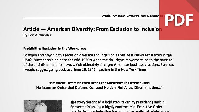 American Diversity From Exclusion to Inclusion