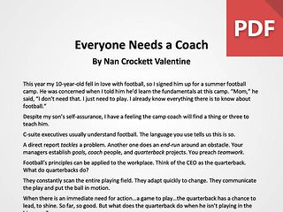 Article: Everyone Needs a Coach