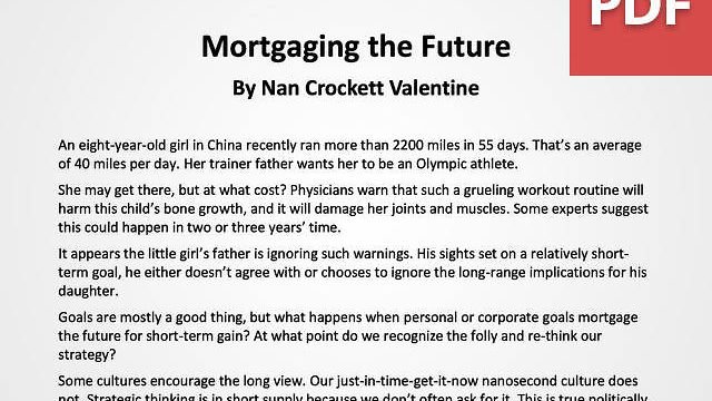 Article: Mortgaging the Future