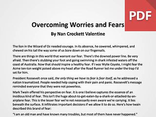 Article: Overcoming Worries and Fears