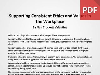 Article: Supporting Consistent Ethics and Values in the Workplace