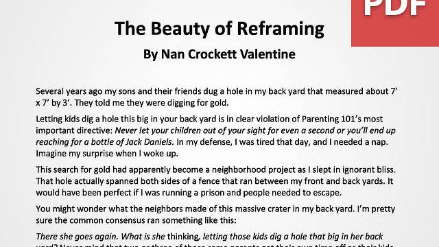 Article: The Beauty of Reframing