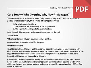 Case Study – Why Diversity, Why Now? (Managers)