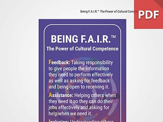 Discussion Card: Being F.A.I.R.™ The Power of Cultural Competence