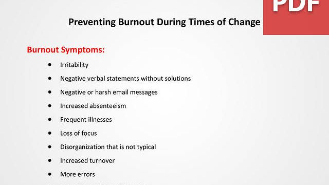 Preventing Burnout During Times of Change