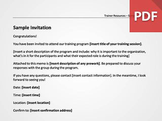 Sample Invitation to Training