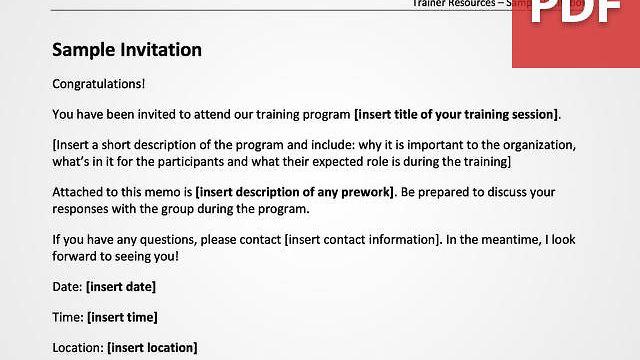 Sample Invitation to Training