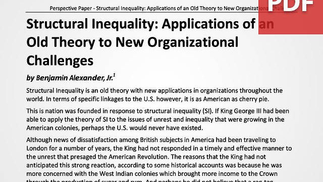 Structural Inequality: Applications of an Old Theory to New Organizational Challenges