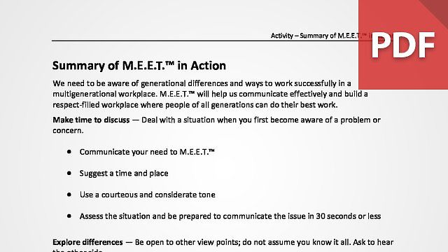 Summary of M.E.E.T.™ in Action