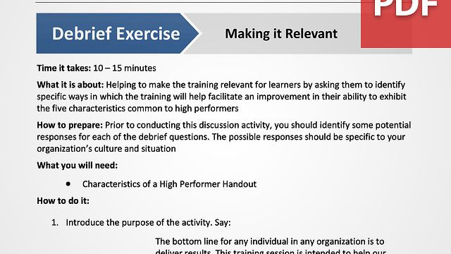 Supplemental Training Module: High-Performance Principles