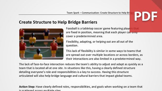 Team Spark: Create Structure to Help Bridge Barriers