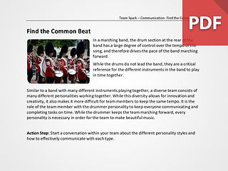 Team Spark: Find the Common Beat