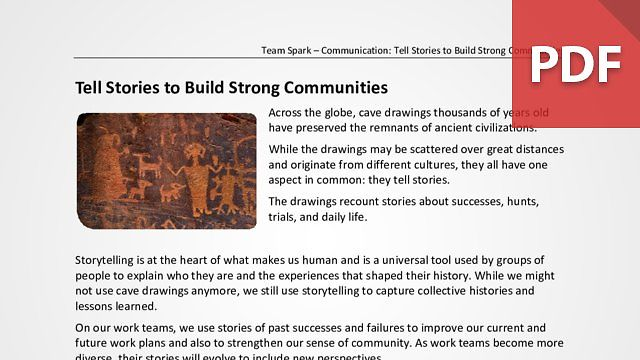 Team Spark: Tell Stories to Build Strong Communities