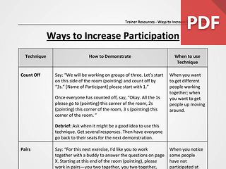 Techniques to Increase Participation