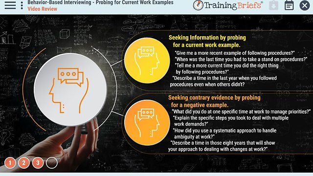 TrainingBriefs® Behavior-Based Interviewing – Probing for Current Work Examples