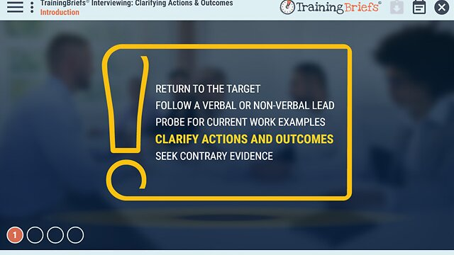 TrainingBriefs® Interviewing: Clarifying Actions & Outcomes
