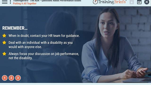 TrainingBriefs™ The ADA - Questions About Performance Issues