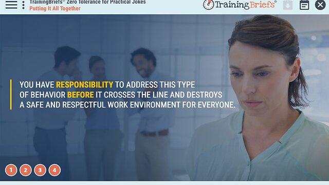 TrainingBriefs™ Zero Tolerance for Practical Jokes