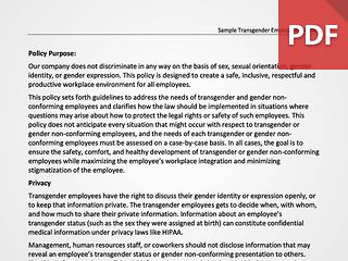 Transgender Employment Policy (Sample)