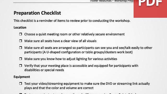 Workshop Preparation Checklist