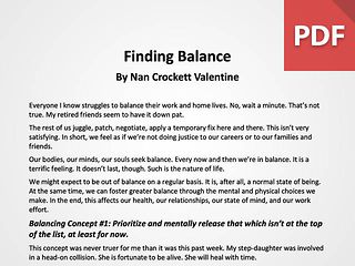 Article: Finding Balance