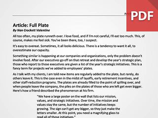 Article: Full Plate