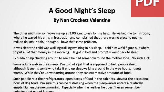 Article: Getting Enough Sleep