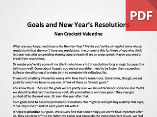 Article: Goals and New Year's Resolutions