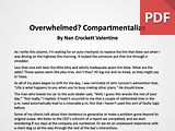 Article: Overwhelmed? Compartmentalize!
