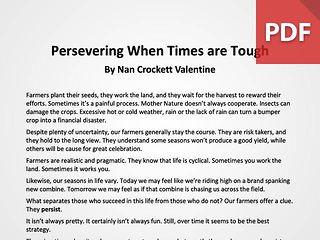 Article: Persevering When Times are Tough