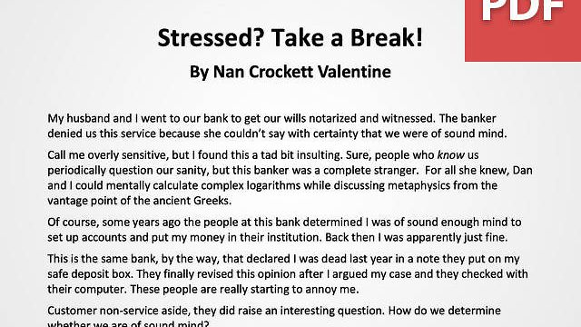 Article: Stressed? Take a Break!