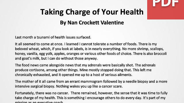 Article: Taking Charge of Your Health