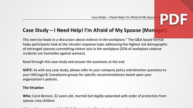 Case Study – I Need Help! I'm Afraid of My Spouse (Manager)