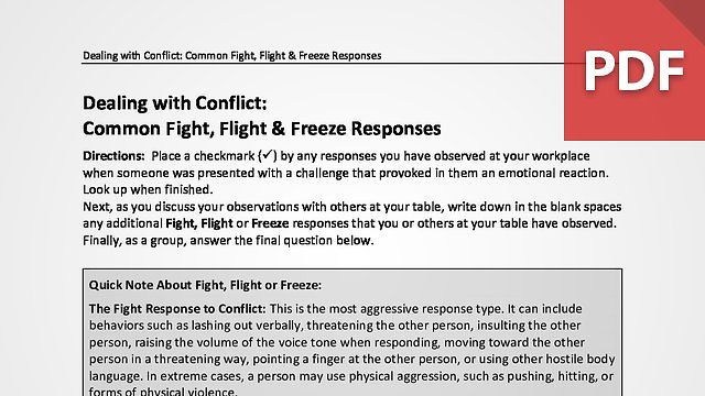 Dealing with Conflict: Common Fight, Flight & Freeze Responses