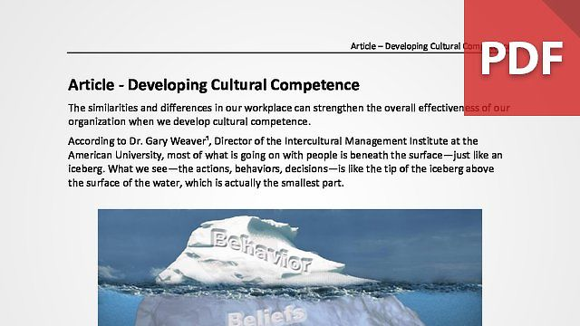 Developing Cultural Competence