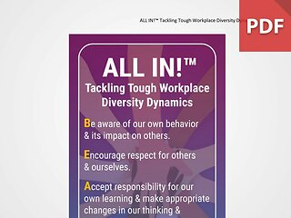 Discussion Card: ALL IN!™ Tackling Tough Workplace Diversity Dynamics