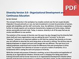 Diversity Version 3.0 - Organizational Development and Continuous Education