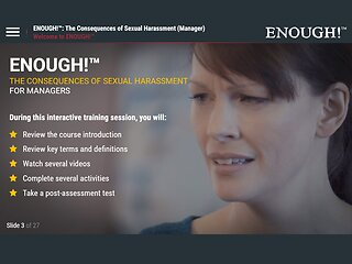 ENOUGH!™ The Consequences of Sexual Harassment (eLearning for Managers)