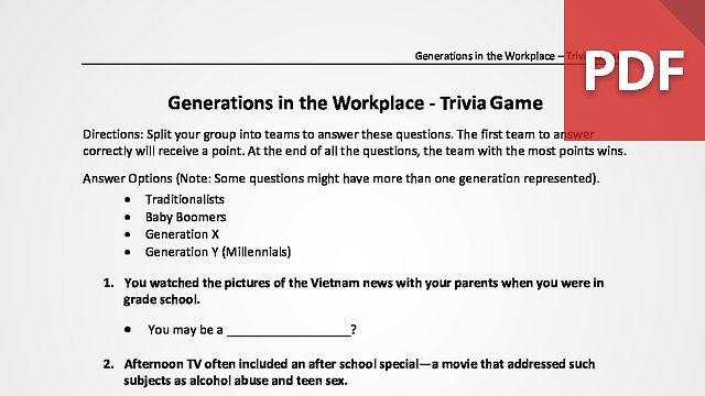 Generations in the Workplace - Trivia Game