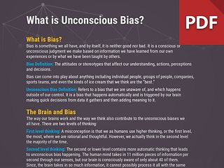 Info Brief: What is Unconscious Bias?