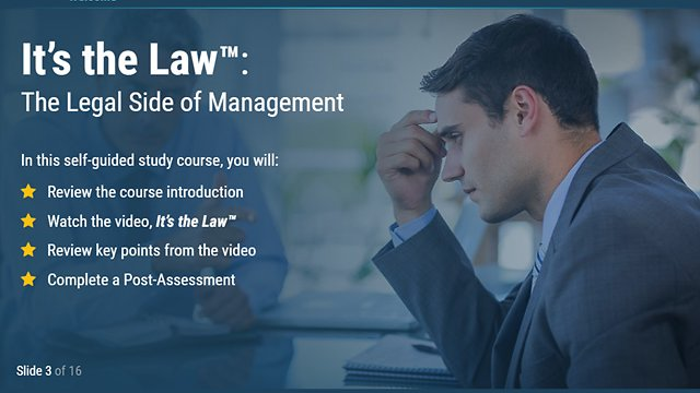 It's the Law™: The Legal Side of Management (eLearning)