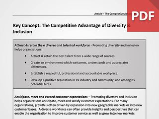 Key Concept: The Competitive Advantage of Diversity & Inclusion