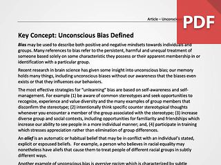 Key Concept: Unconscious Bias Defined