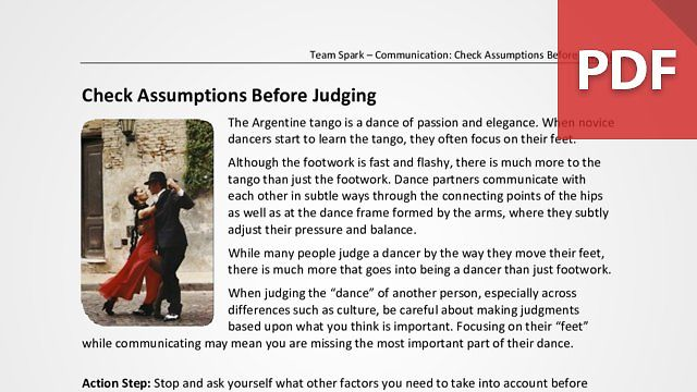 Team Spark: Check Assumptions Before Judging