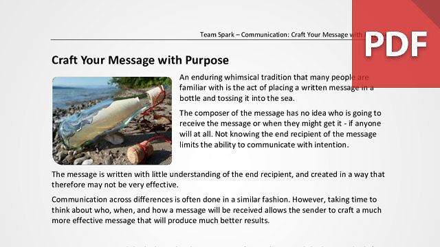 Team Spark: Craft Your Message With Purpose