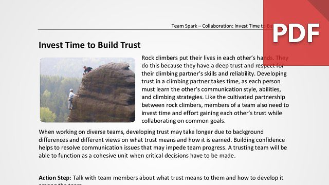 Team Spark: Invest Time to Build Trust