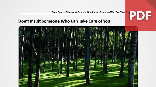 Team Spark: Proverb - Don't Insult Someone Who Can Take Care of You