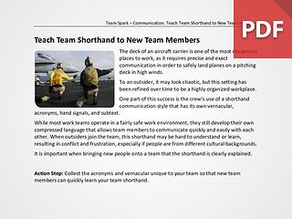 Team Spark: Teach Team Shorthand to New Team Members
