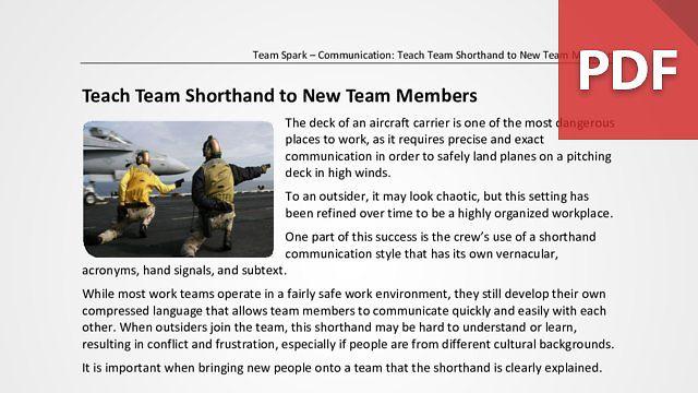 Team Spark: Teach Team Shorthand to New Team Members